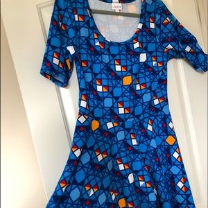 Lularoe Nicole  Dress Sz XL Blue Geometric Print